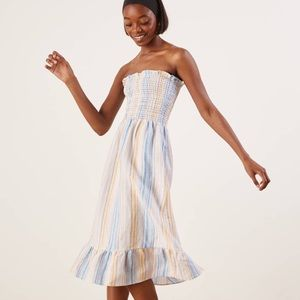 REFORMATION Bermuda Striped Strapless Linen Dress